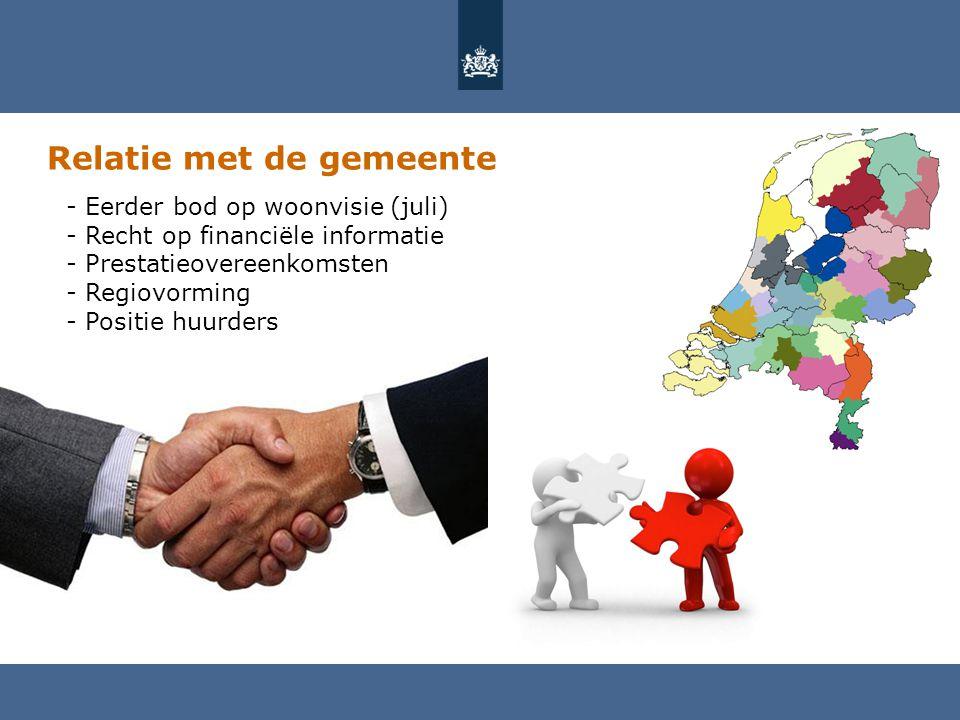 Relatie met de gemeente - Eerder bod op woonvisie (juli) - Recht op financiële informatie - Prestatieovereenkomsten - Regiovorming - Positie huurders