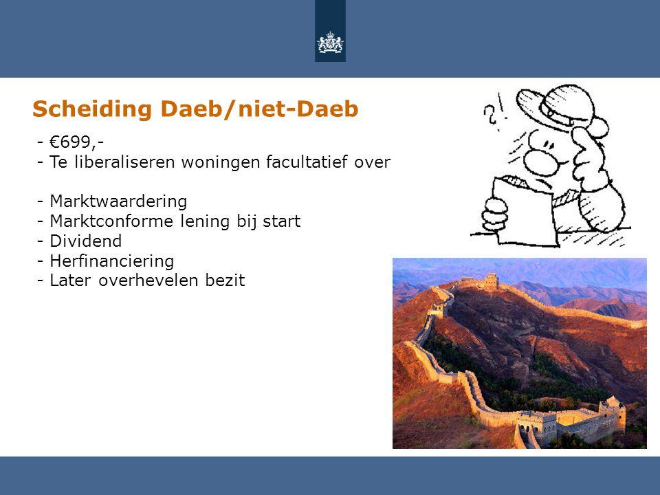 Scheiding Daeb/niet-Daeb - €699,- - Te liberaliseren woningen facultatief over - Marktwaardering - Marktconforme lening bij start - Dividend - Herfinanciering - Later overhevelen bezit