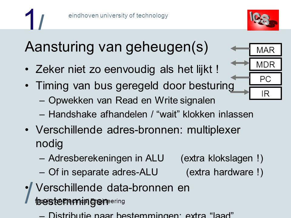 1/1/ / faculty of Electrical Engineering eindhoven university of technology Aansturing van geheugen(s) Zeker niet zo eenvoudig als het lijkt .