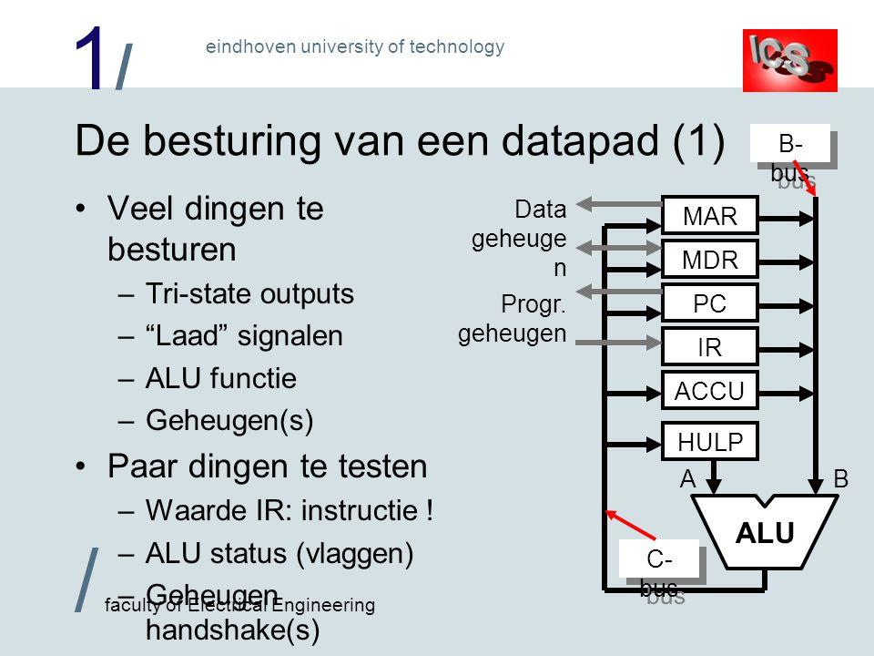 1/1/ / faculty of Electrical Engineering eindhoven university of technology De besturing van een datapad (2) B ALU MAR MDR PC IR ACCU HULP A B- bus C- bus Data geheuge n Progr.
