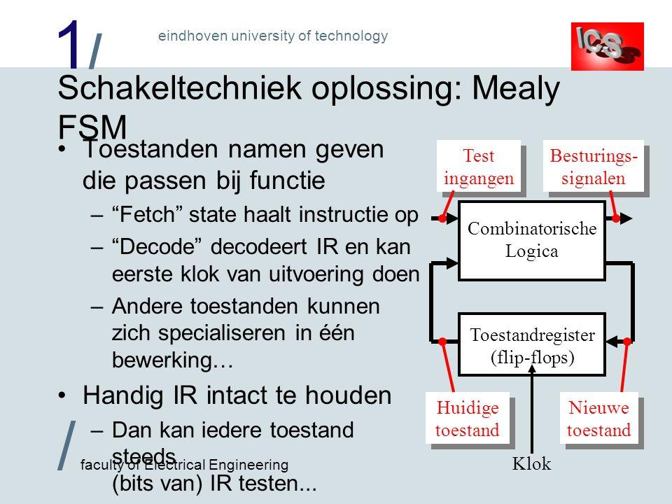 1/1/ / faculty of Electrical Engineering eindhoven university of technology Oppassen met Mealy FSM's Kans op (ongewenste) combinatorische lussen –Van testwaarde afgeleid besturingssignaal mag die testwaarde nooit veranderen in het datapad .
