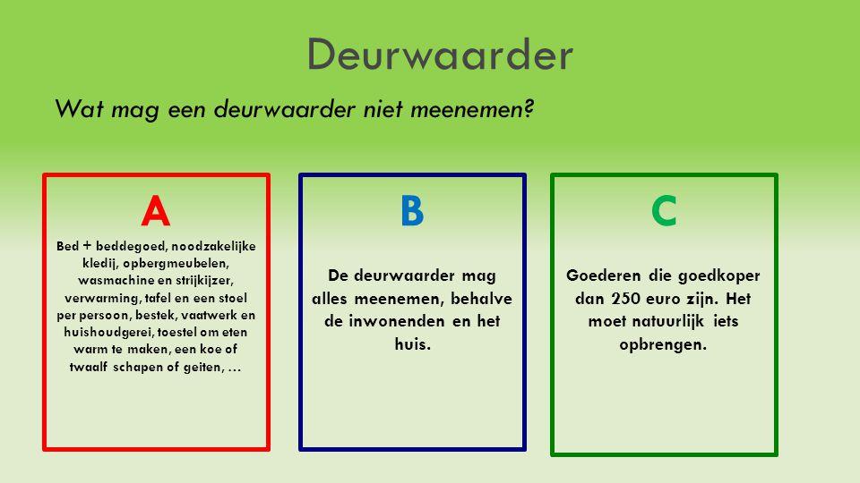 Deurwaarder Wat mag een deurwaarder niet meenemen? A Bed + beddegoed, noodzakelijke kledij, opbergmeubelen, wasmachine en strijkijzer, verwarming, taf