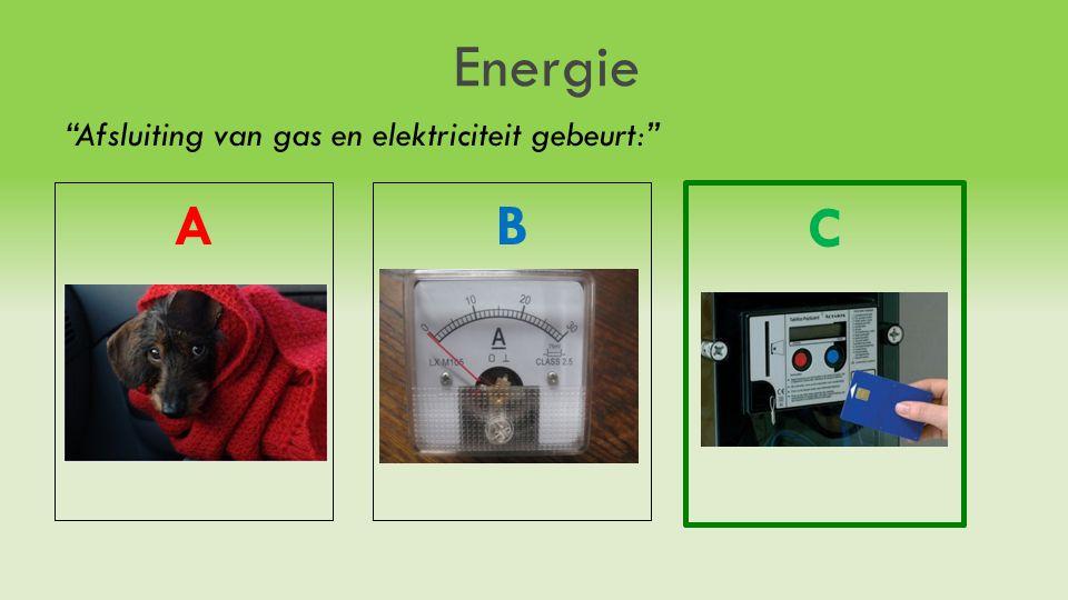 Energie Afsluiting van gas en elektriciteit gebeurt: AB C