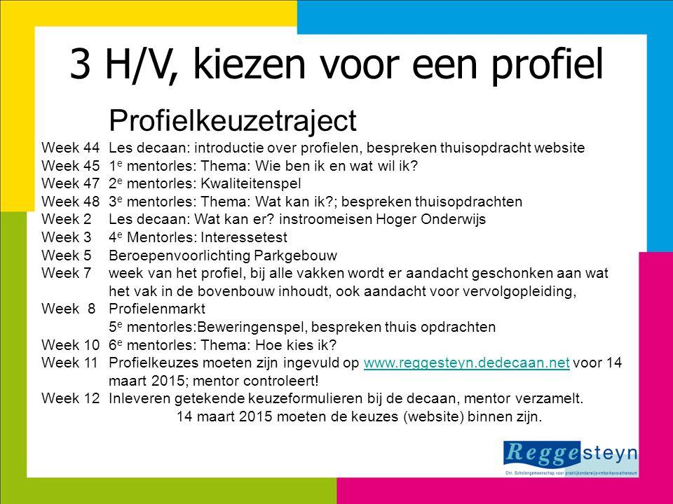 3 H/V, kiezen voor een profiel Profielkeuzetraject Week 44Les decaan: introductie over profielen, bespreken thuisopdracht website Week 451 e mentorles