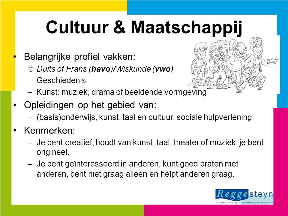 1 Cultuur & Maatschappij Belangrijke profiel vakken:  Duits of Frans (havo)/Wiskunde (vwo) –Geschiedenis –Kunst: muziek, drama of beeldende vormgevin
