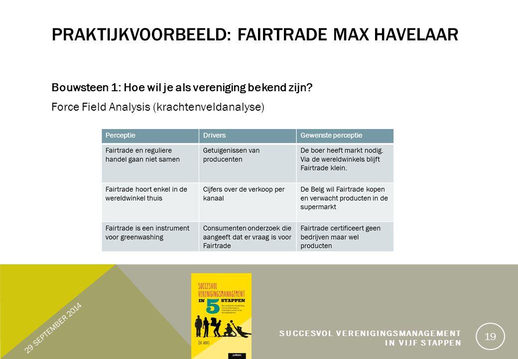 PRAKTIJKVOORBEELD: FAIRTRADE MAX HAVELAAR Bouwsteen 1: Hoe wil je als vereniging bekend zijn.
