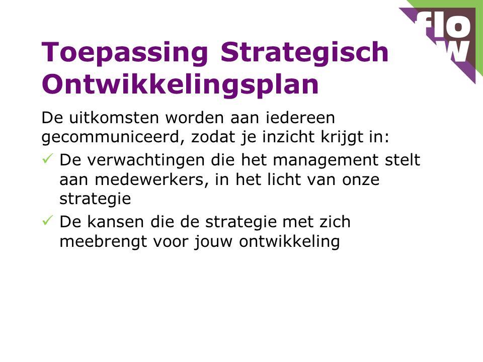 Toepassing Strategisch Ontwikkelingsplan De uitkomsten worden aan iedereen gecommuniceerd, zodat je inzicht krijgt in: De verwachtingen die het management stelt aan medewerkers, in het licht van onze strategie De kansen die de strategie met zich meebrengt voor jouw ontwikkeling