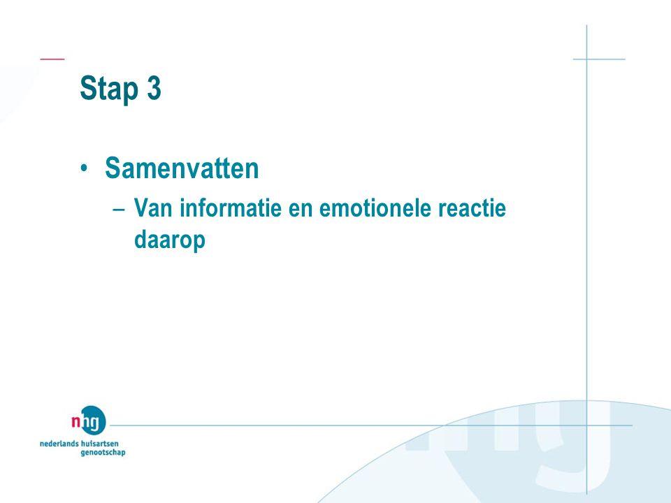 Stap 3 Samenvatten – Van informatie en emotionele reactie daarop