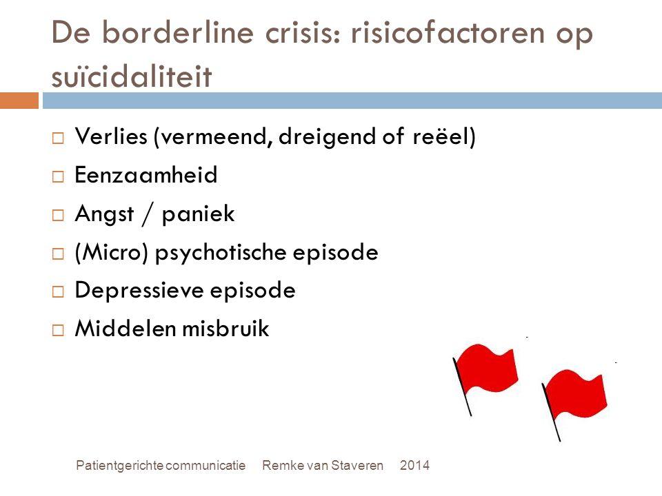 De borderline crisis: risicofactoren op suïcidaliteit  Verlies (vermeend, dreigend of reëel)  Eenzaamheid  Angst / paniek  (Micro) psychotische ep
