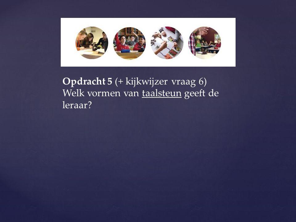 Opdracht 5 (+ kijkwijzer vraag 6) Welk vormen van taalsteun geeft de leraar?