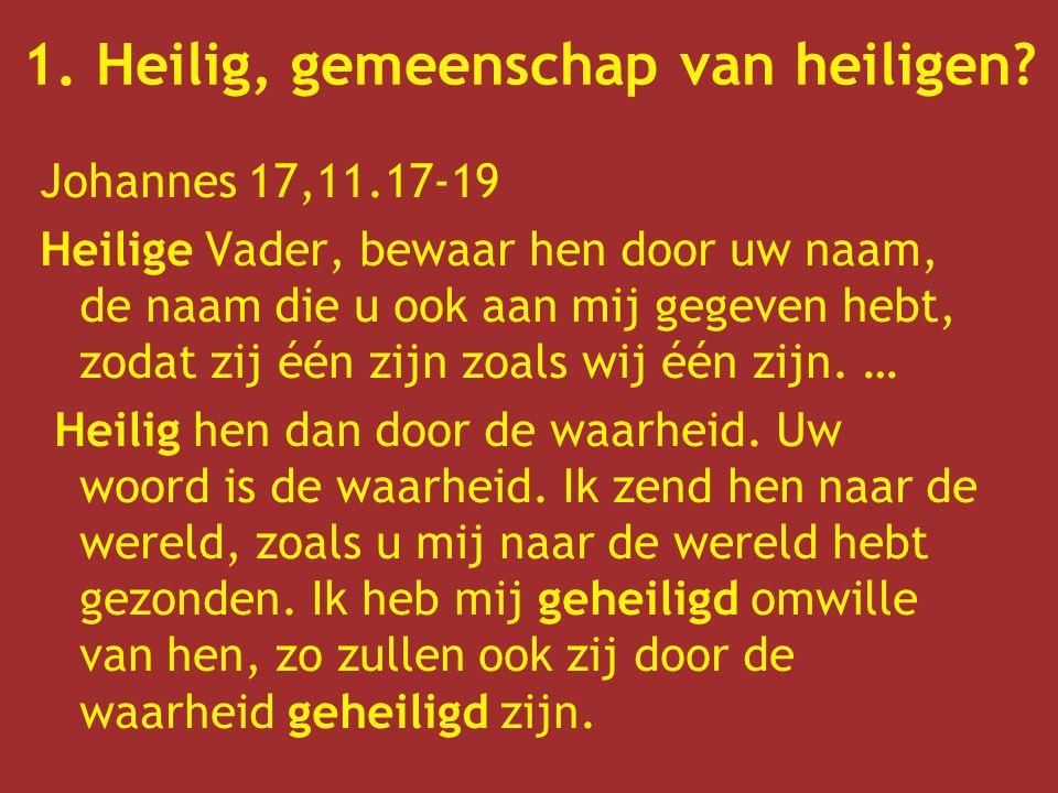 Johannes 17,11.17-19 Heilige Vader, bewaar hen door uw naam, de naam die u ook aan mij gegeven hebt, zodat zij één zijn zoals wij één zijn.