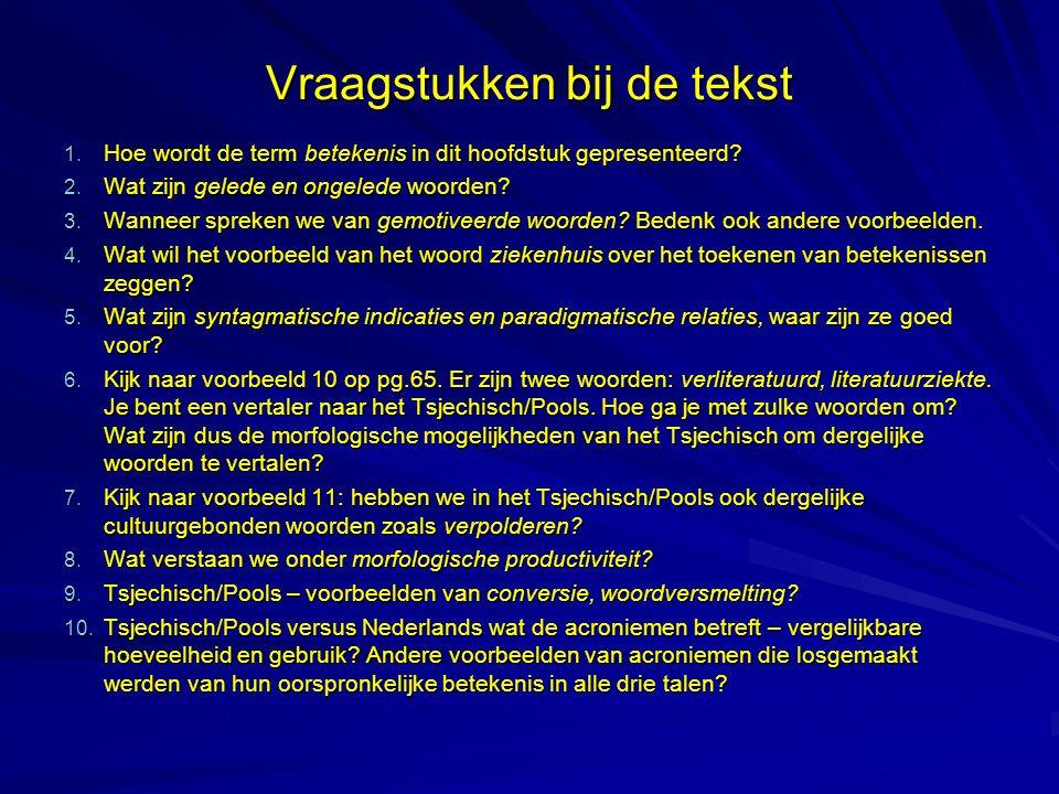 Vraagstukken bij de tekst Woordbetekenis: structuur en dynamiek: Werk in tweetallen: Lieke en Marta werken alleen.