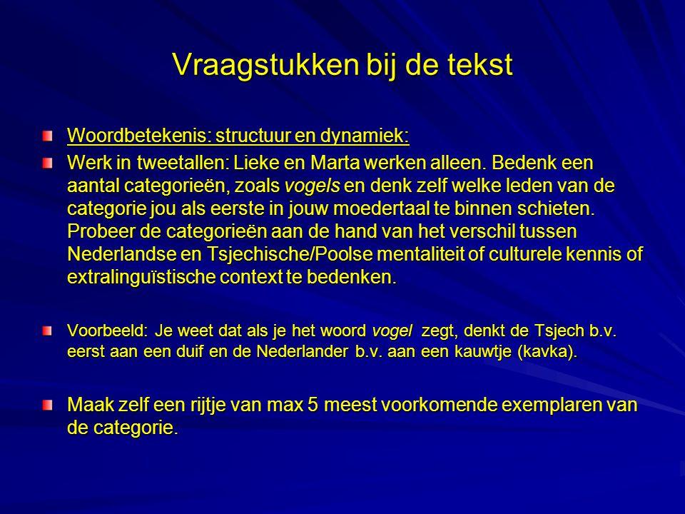 Vraagstukken bij de tekst Woordbetekenis: structuur en dynamiek: Werk in tweetallen: Lieke en Marta werken alleen. Bedenk een aantal categorieën, zoal