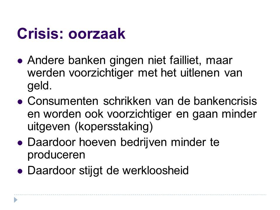 Crisis: oorzaak Andere banken gingen niet failliet, maar werden voorzichtiger met het uitlenen van geld. Consumenten schrikken van de bankencrisis en