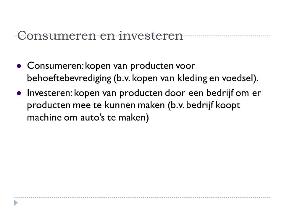 Consumeren en investeren Consumeren: kopen van producten voor behoeftebevrediging (b.v. kopen van kleding en voedsel). Investeren: kopen van producten