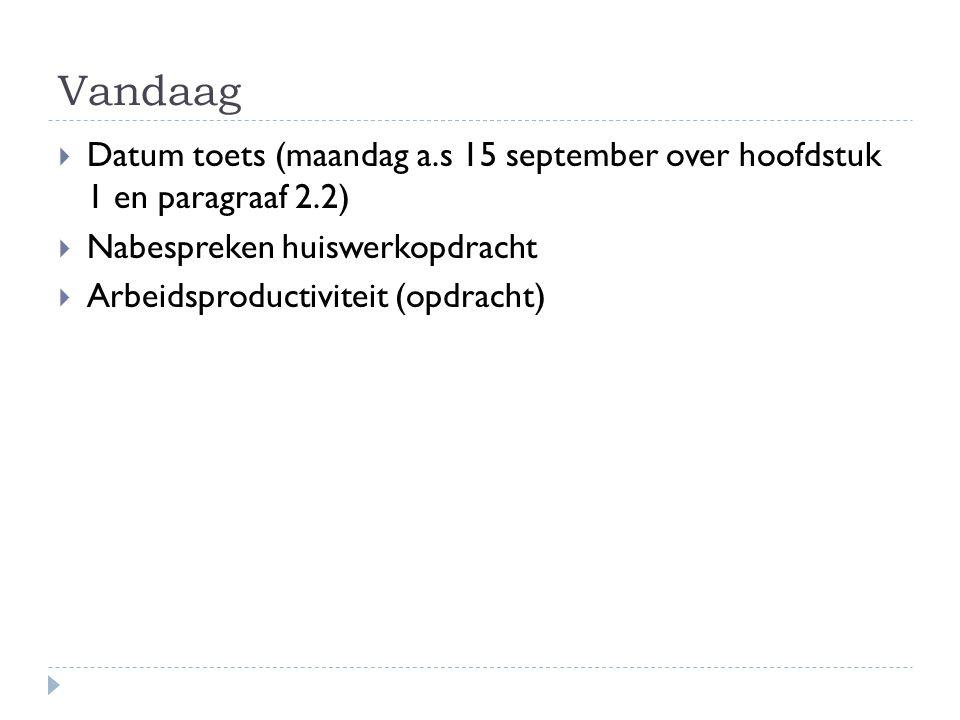 Vandaag  Datum toets (maandag a.s 15 september over hoofdstuk 1 en paragraaf 2.2)  Nabespreken huiswerkopdracht  Arbeidsproductiviteit (opdracht)