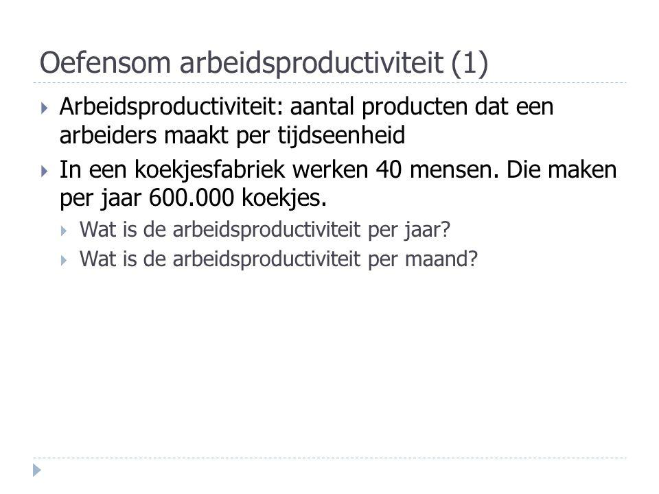 Oefensom arbeidsproductiviteit (1)  Arbeidsproductiviteit: aantal producten dat een arbeiders maakt per tijdseenheid  In een koekjesfabriek werken 4