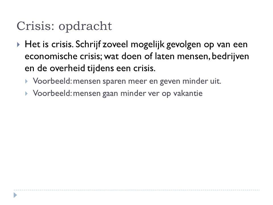 Crisis: opdracht  Het is crisis. Schrijf zoveel mogelijk gevolgen op van een economische crisis; wat doen of laten mensen, bedrijven en de overheid t