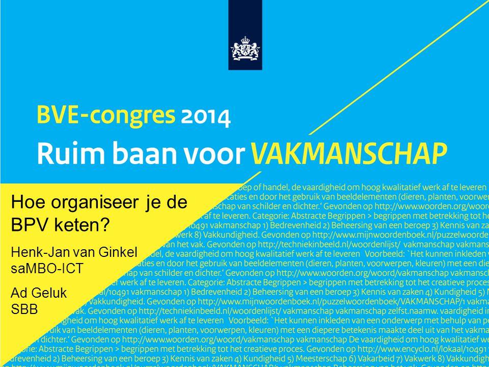 Hoe organiseer je de BPV keten? Henk-Jan van Ginkel saMBO-ICT Ad Geluk SBB