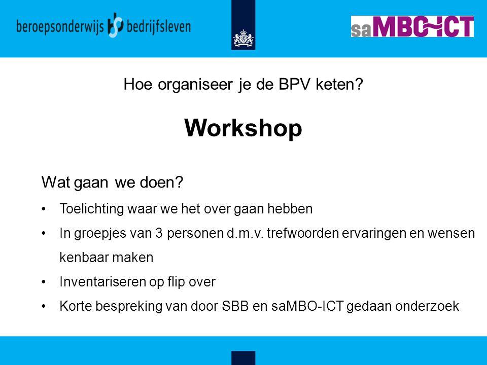 Hoe organiseer je de BPV keten? Workshop Wat gaan we doen? Toelichting waar we het over gaan hebben In groepjes van 3 personen d.m.v. trefwoorden erva