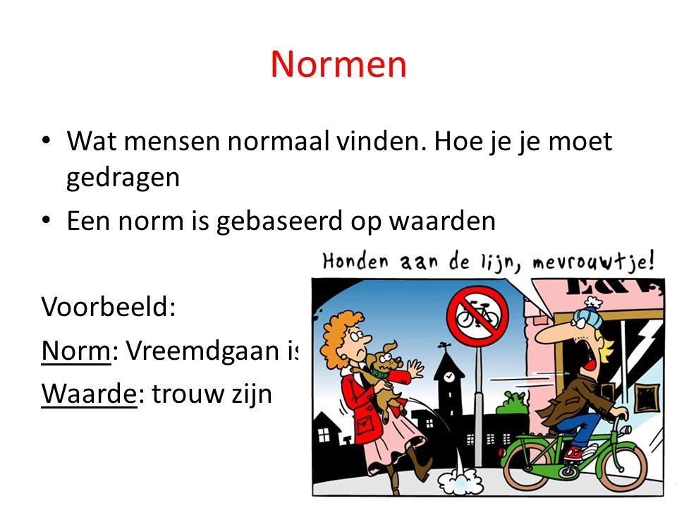 Normen Wat mensen normaal vinden. Hoe je je moet gedragen Een norm is gebaseerd op waarden Voorbeeld: Norm: Vreemdgaan is niet goed Waarde: trouw zijn