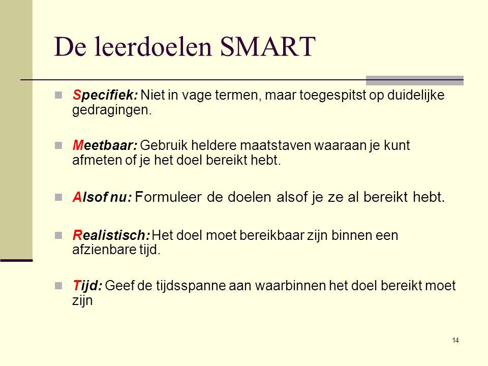 14 De leerdoelen SMART Specifiek: Niet in vage termen, maar toegespitst op duidelijke gedragingen.