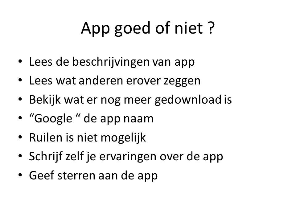 """App goed of niet ? Lees de beschrijvingen van app Lees wat anderen erover zeggen Bekijk wat er nog meer gedownload is """"Google """" de app naam Ruilen is"""