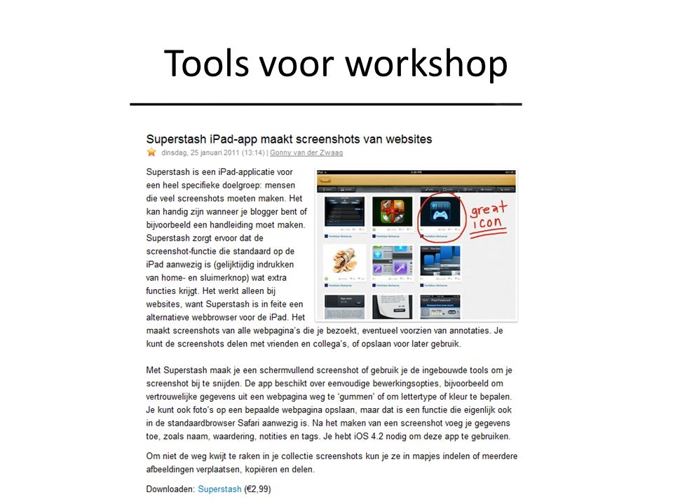 Tools voor workshop