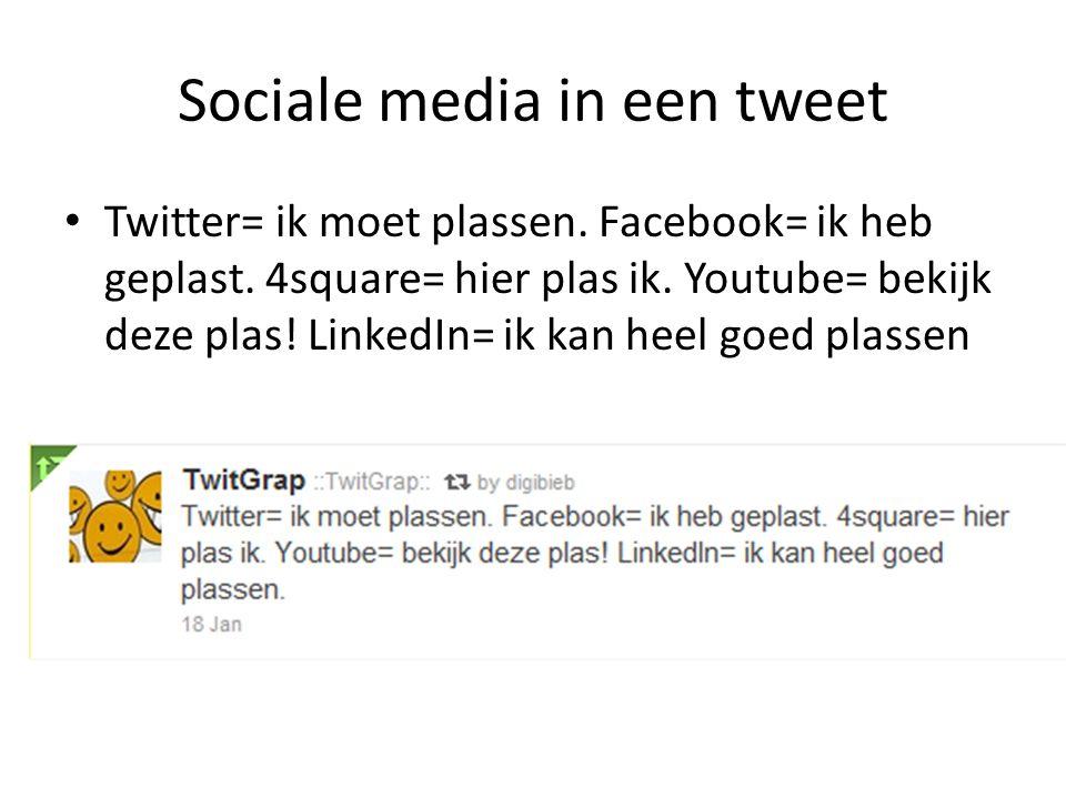 Sociale media in een tweet Twitter= ik moet plassen. Facebook= ik heb geplast. 4square= hier plas ik. Youtube= bekijk deze plas! LinkedIn= ik kan heel