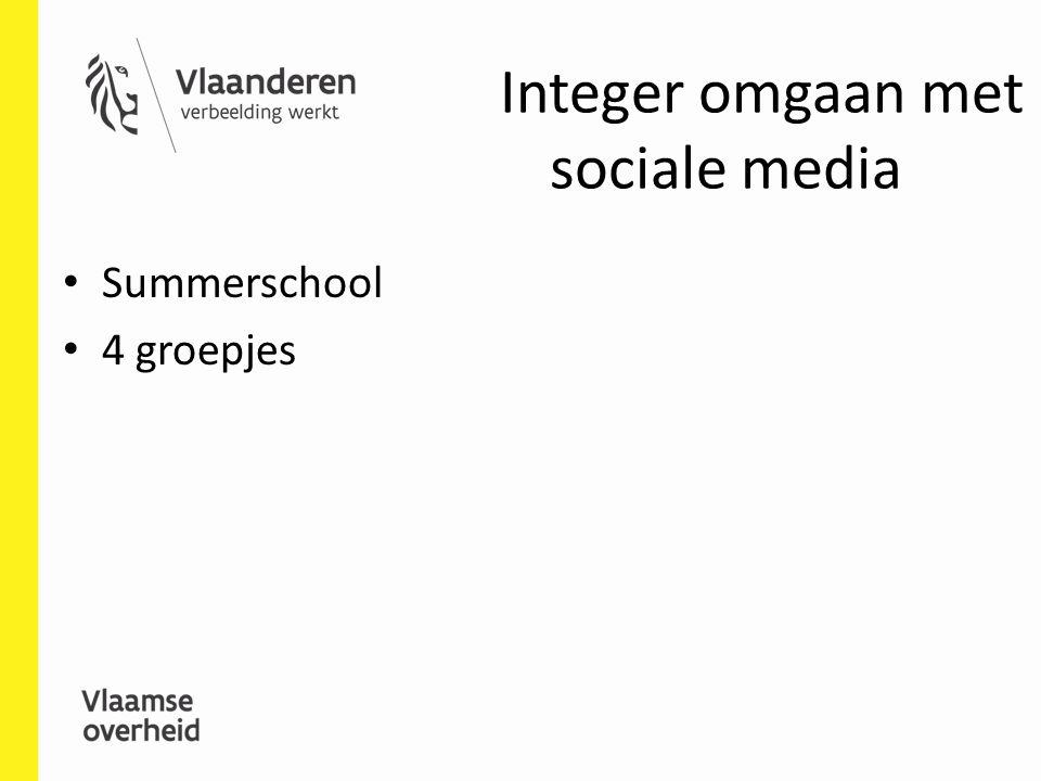 Integer omgaan met sociale media Summerschool 4 groepjes