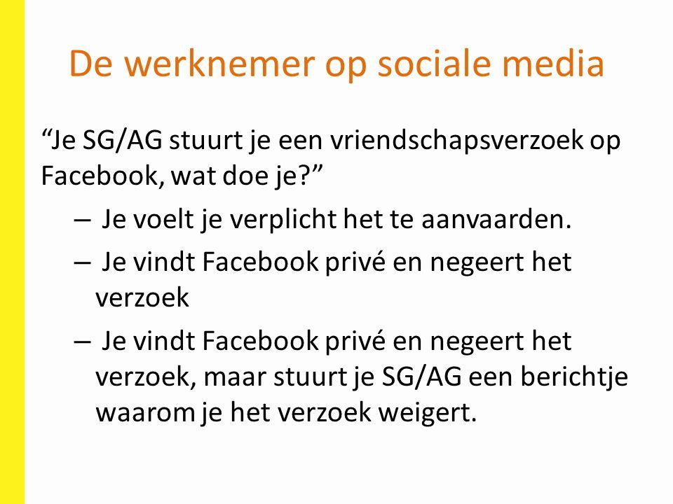 """De werknemer op sociale media """"Je SG/AG stuurt je een vriendschapsverzoek op Facebook, wat doe je?"""" – Je voelt je verplicht het te aanvaarden. – Je vi"""
