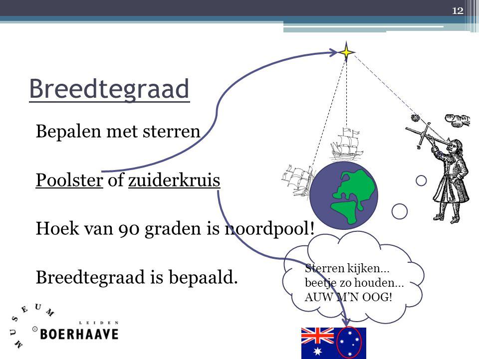 Bepalen met sterren Poolster of zuiderkruis Hoek van 90 graden is noordpool! Breedtegraad is bepaald. 12 Breedtegraad Sterren kijken… beetje zo houden