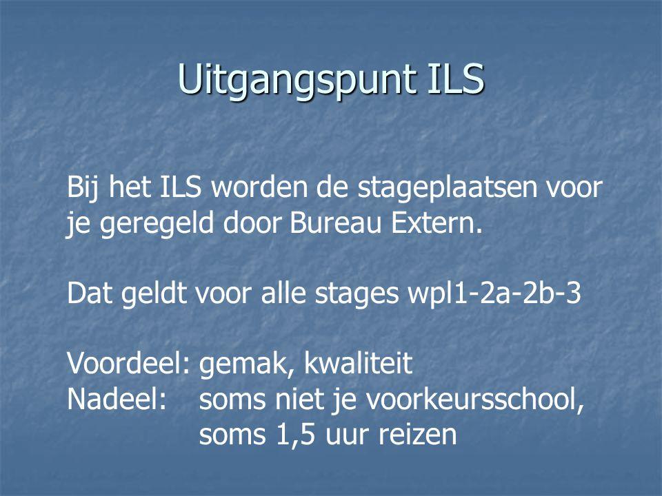 Uitgangspunt ILS Bij het ILS worden de stageplaatsen voor je geregeld door Bureau Extern. Dat geldt voor alle stages wpl1-2a-2b-3 Voordeel: gemak, kwa