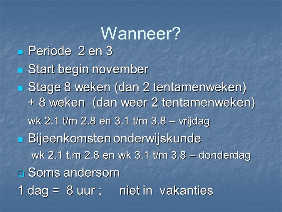 Wanneer? Periode 2 en 3 Periode 2 en 3 Start begin november Start begin november Stage 8 weken (dan 2 tentamenweken) + 8 weken (dan weer 2 tentamenwek