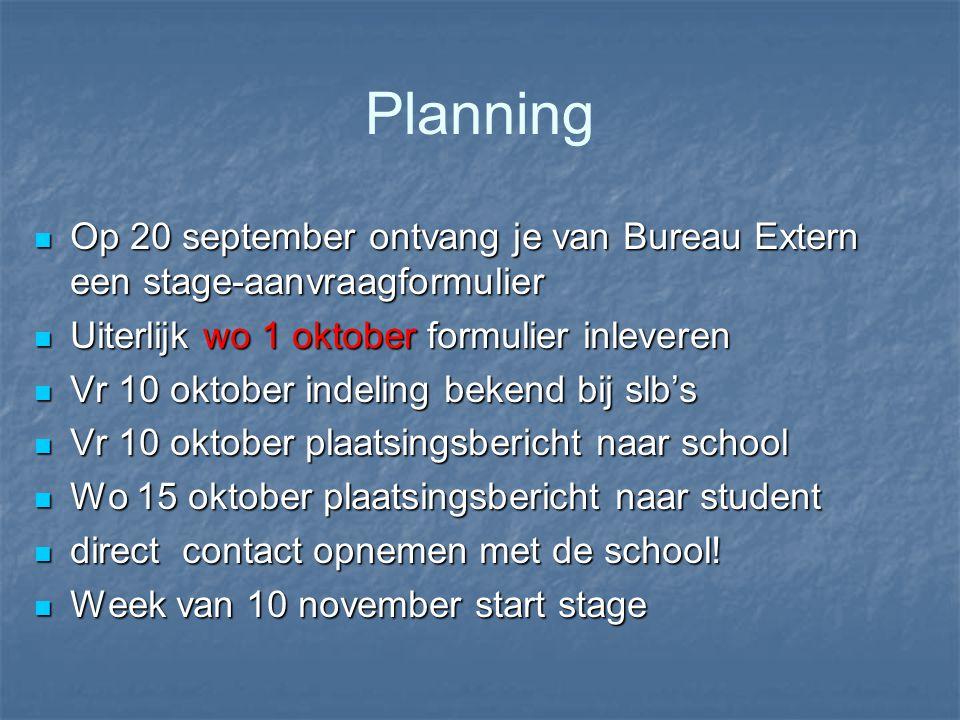 Planning Op 20 september ontvang je van Bureau Extern een stage-aanvraagformulier Op 20 september ontvang je van Bureau Extern een stage-aanvraagformu