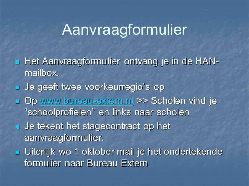 Aanvraagformulier Het Aanvraagformulier ontvang je in de HAN- mailbox. Het Aanvraagformulier ontvang je in de HAN- mailbox. Je geeft twee voorkeurregi