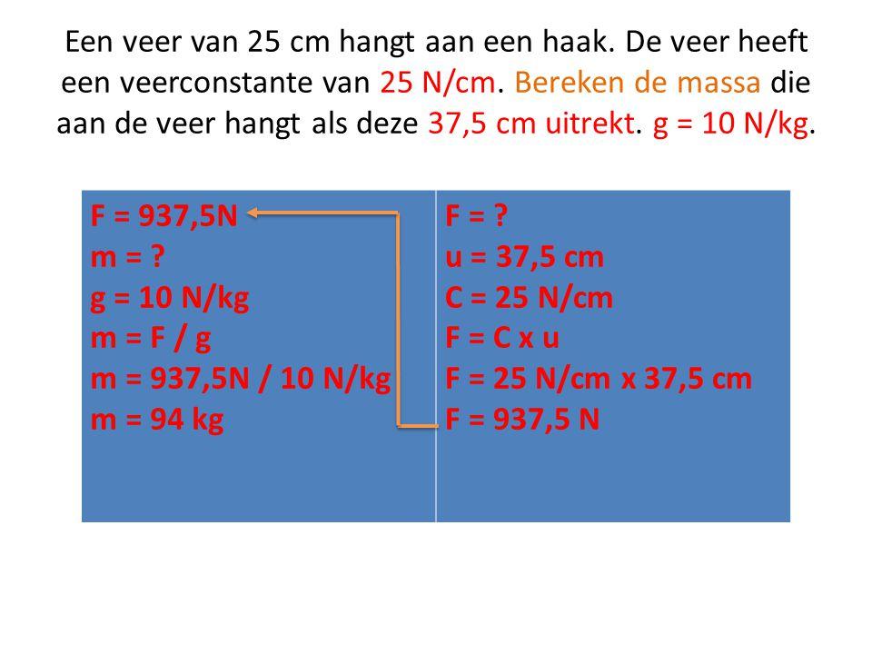 Een veer van 25 cm hangt aan een haak.De veer heeft een veerconstante van 25 N/cm.