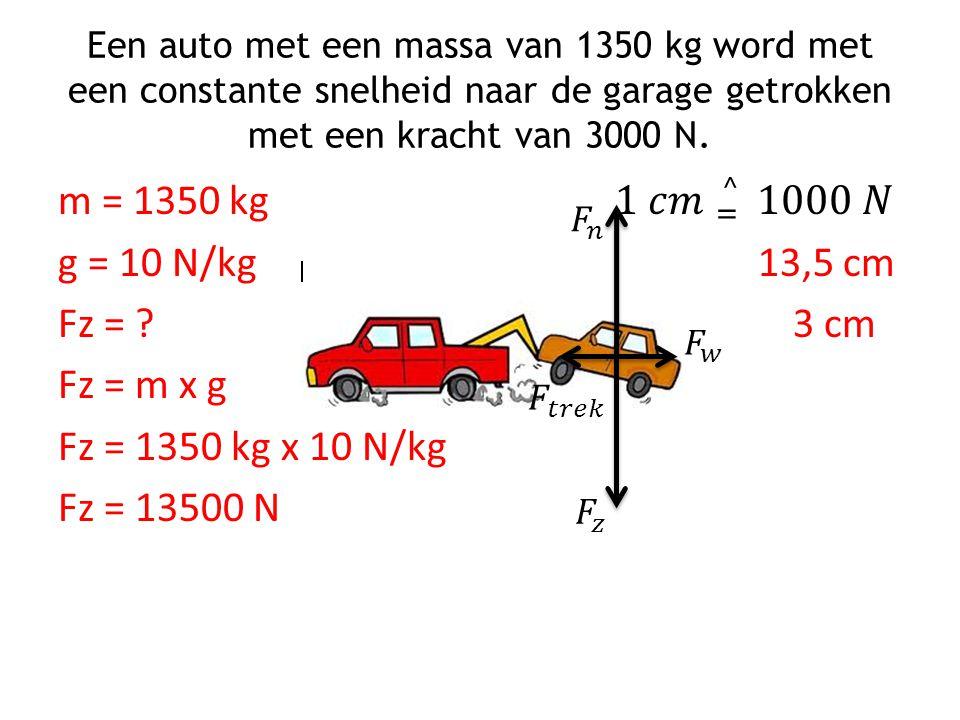 Een auto met een massa van 1350 kg word met een constante snelheid naar de garage getrokken met een kracht van 3000 N.