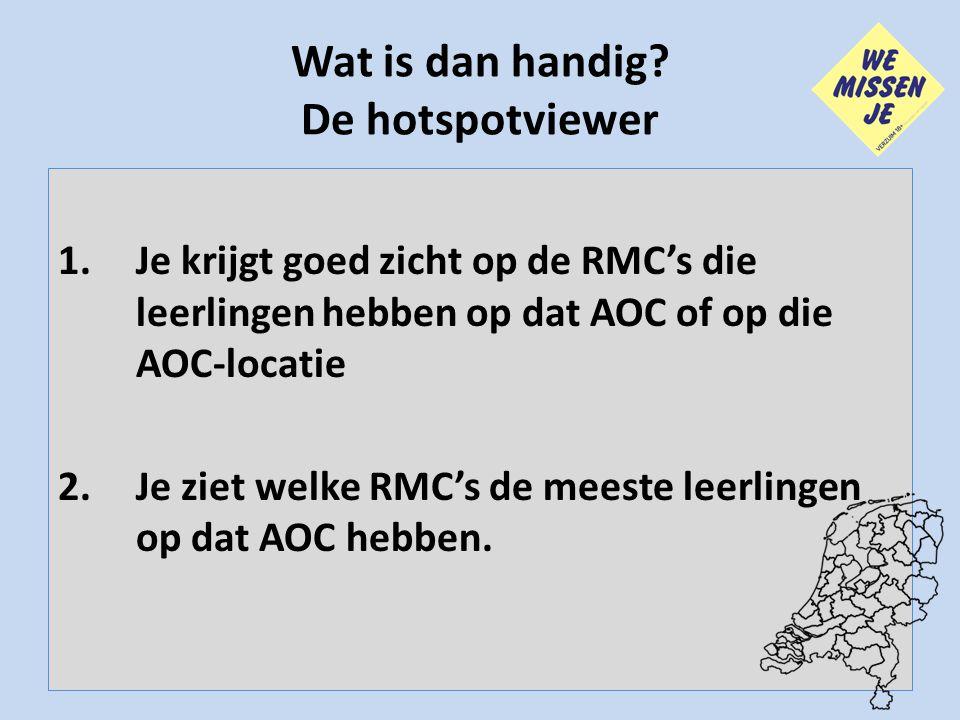 Wat is dan handig? De hotspotviewer 1.Je krijgt goed zicht op de RMC's die leerlingen hebben op dat AOC of op die AOC-locatie 2.Je ziet welke RMC's de