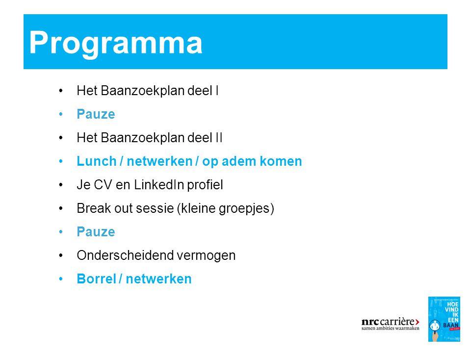 Programma 4 Het Baanzoekplan deel I Pauze Het Baanzoekplan deel II Lunch / netwerken / op adem komen Je CV en LinkedIn profiel Break out sessie (kleine groepjes) Pauze Onderscheidend vermogen Borrel / netwerken