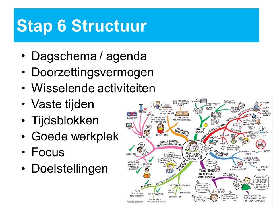 Stap 6Structuur Dagschema / agenda Doorzettingsvermogen Wisselende activiteiten Vaste tijden Tijdsblokken Goede werkplek Focus Doelstellingen