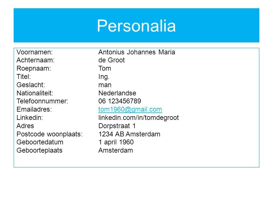 Personalia Voornamen:Antonius Johannes Maria Achternaam:de Groot Roepnaam:Tom Titel:Ing.