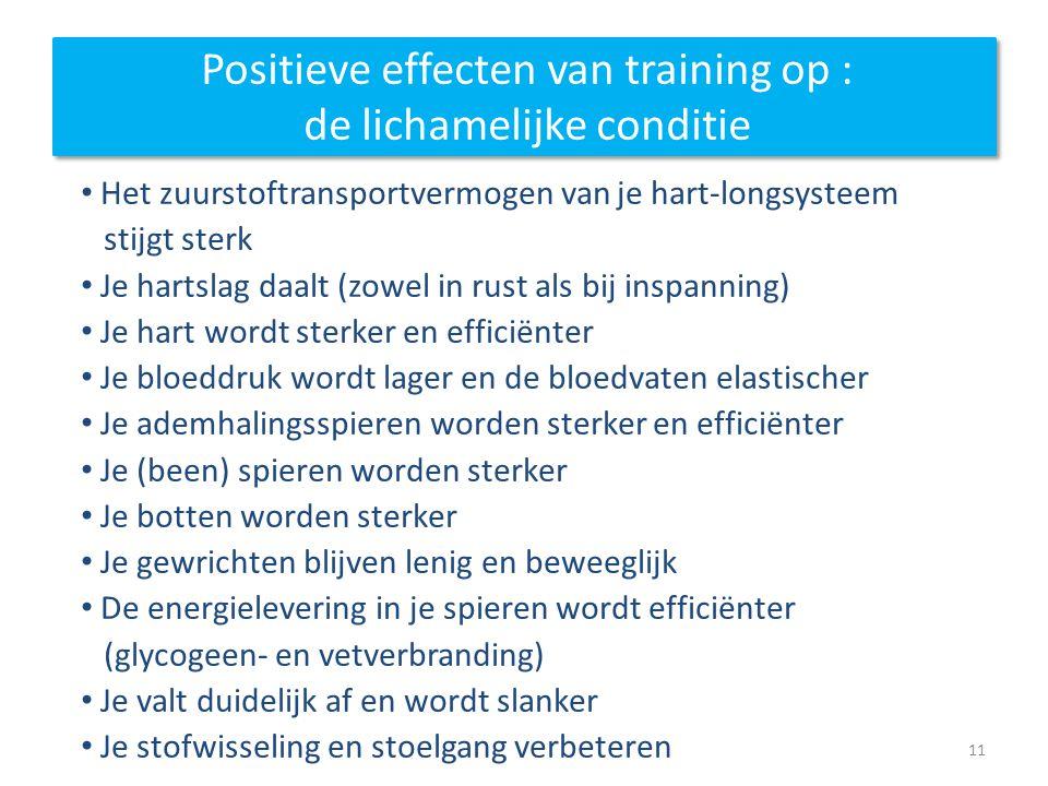 Positieve effecten van training op : de lichamelijke conditie Het zuurstoftransportvermogen van je hart-longsysteem stijgt sterk Je hartslag daalt (zo