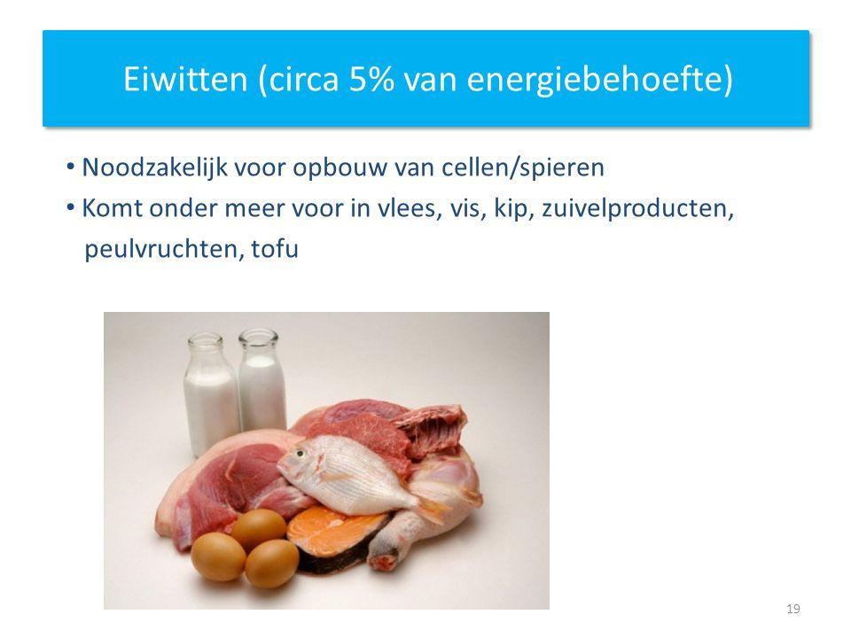 Eiwitten (circa 5% van energiebehoefte) Noodzakelijk voor opbouw van cellen/spieren Komt onder meer voor in vlees, vis, kip, zuivelproducten, peulvruc