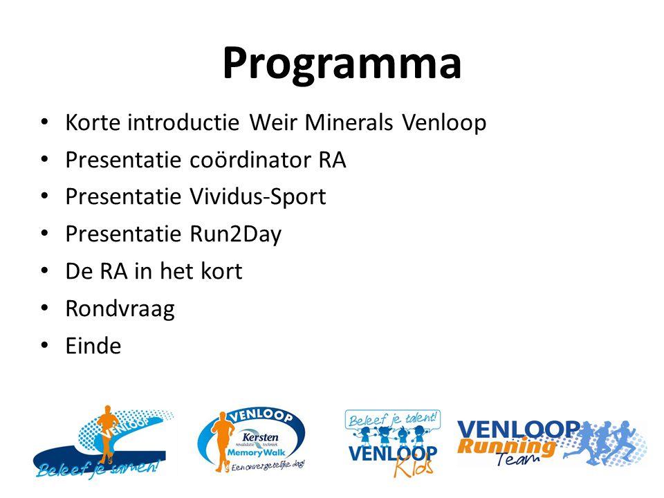 Programma Korte introductie Weir Minerals Venloop Presentatie coördinator RA Presentatie Vividus-Sport Presentatie Run2Day De RA in het kort Rondvraag