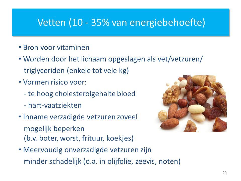 Vetten (10 - 35% van energiebehoefte) Bron voor vitaminen Worden door het lichaam opgeslagen als vet/vetzuren/ triglyceriden (enkele tot vele kg) Vorm