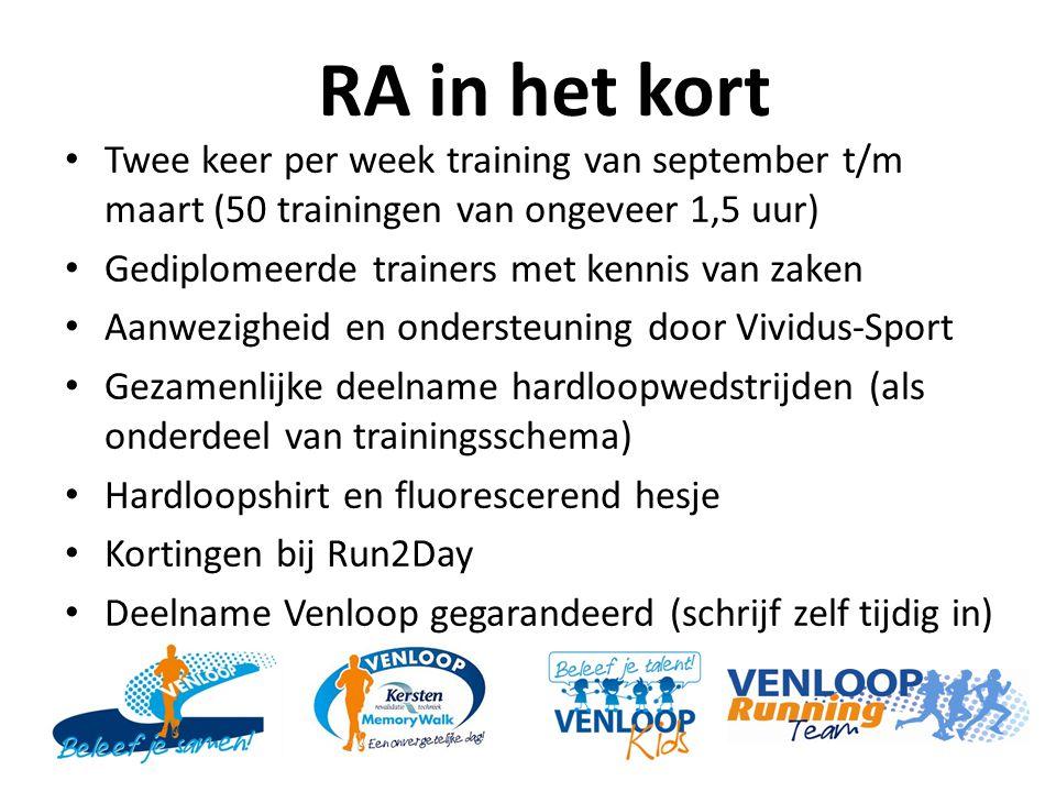 RA in het kort Twee keer per week training van september t/m maart (50 trainingen van ongeveer 1,5 uur) Gediplomeerde trainers met kennis van zaken Aa
