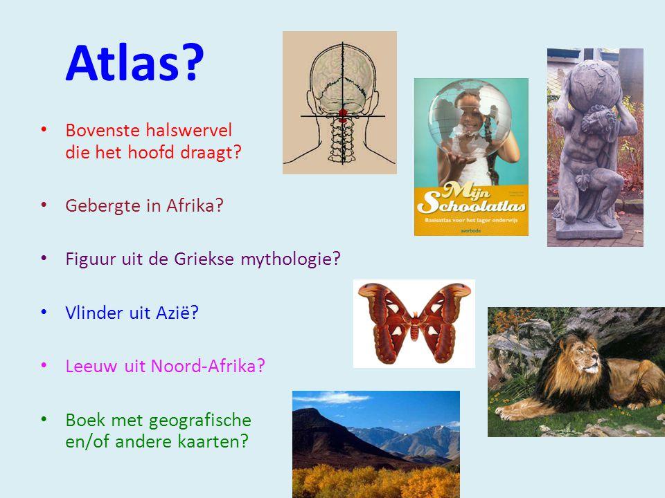 Atlas.Bovenste halswervel die het hoofd draagt. Gebergte in Afrika.
