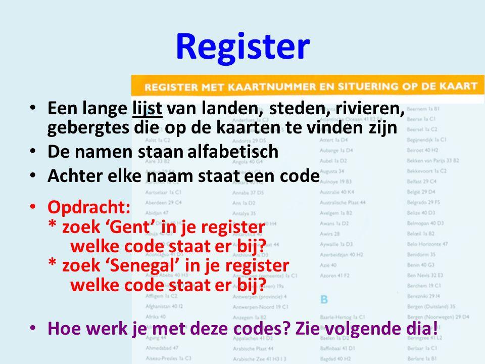 Register Een lange lijst van landen, steden, rivieren, gebergtes die op de kaarten te vinden zijn De namen staan alfabetisch Achter elke naam staat een code Opdracht: * zoek 'Gent' in je register welke code staat er bij.