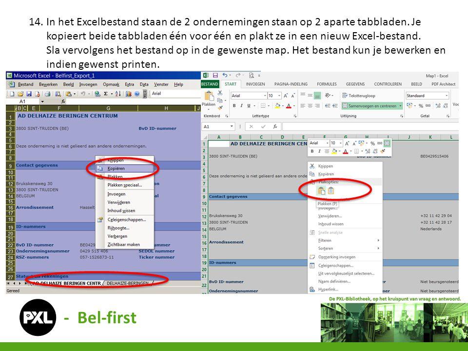 - Bel-first 14. In het Excelbestand staan de 2 ondernemingen staan op 2 aparte tabbladen. Je kopieert beide tabbladen één voor één en plakt ze in een